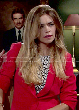Victoria's geometric printed top and red blazer on The Young and the Restless