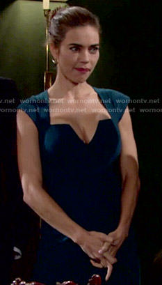 Victoria's teal notch neck dress on The Young and the Restless
