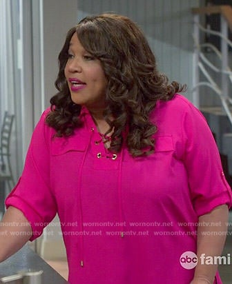Yolanda's pink lace up blouse on Young and Hungry