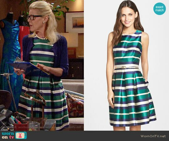 Eliza J Belted Stripe Twill Fit & Flare Dress worn by Alley Mills on The Bold & the Beautiful