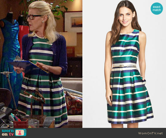Eliza J Belted Stripe Twill Fit & Flare Dress worn by Pamela Douglas (Alley Mills) on The Bold & the Beautiful