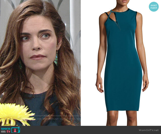 Halston Heritage Asymmetrical-Cutout Sheath Dress worn by Victoria Newman (Amelia Heinle) on The Young & the Restless