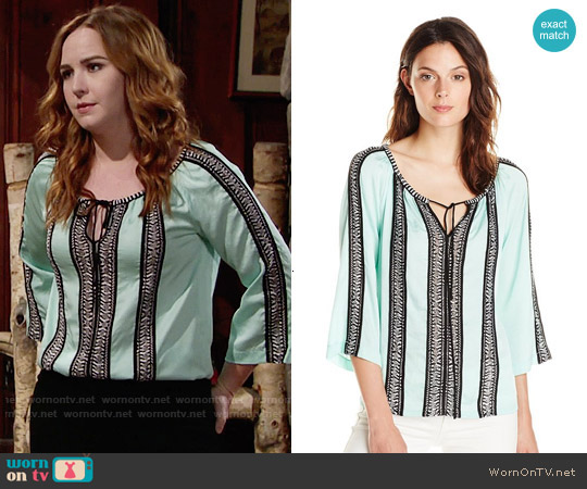 Nanette Lepore Tropical Ribbon Trim Blouse worn by Camryn Grimes on The Young & the Restless