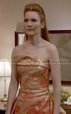 Abby's coral and gold gown on Scandal