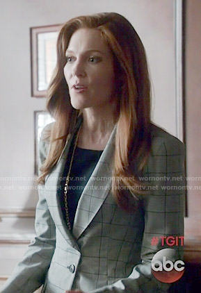 Abby's grey checked blazer and black dress on Scandal