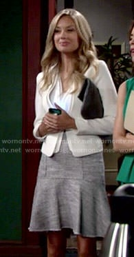 Abby's tweed skirt and white blazer on The Young and the Restless