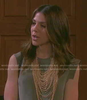Abigail's army green shift dress on Days of our Lives