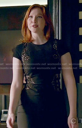 Alexis's black mesh inset dress on Castle