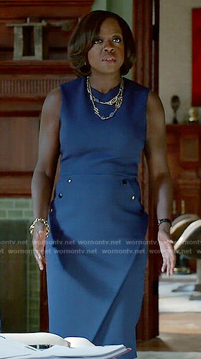 Annalise's blue dress with buttons on How to Get Away with Murder
