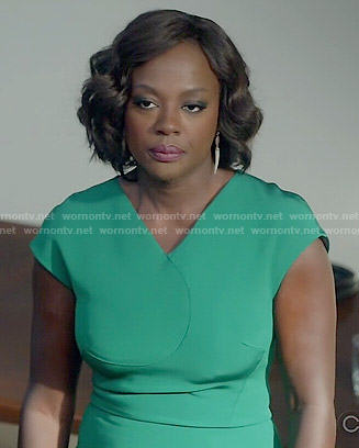 Annalise's green v-neck dress on How to get Away with Murder