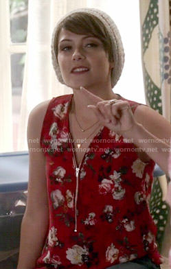 April's red floral zip front top on Chasing Life