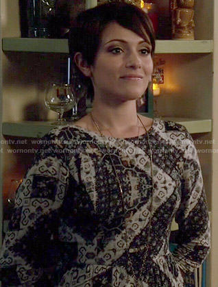 Beth's dress with red skirt and black textured bodice on Chasing Life