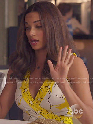 April's yellow floral wrap dress on Mistresses
