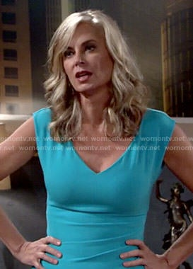 Ashley's turquoise blue v-neck dress on The Young and the Restless
