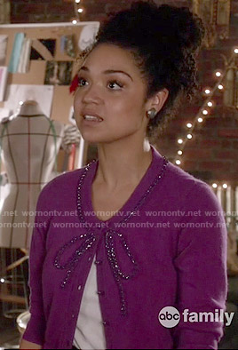 Beth's purple bow cardigan on Chasing Life