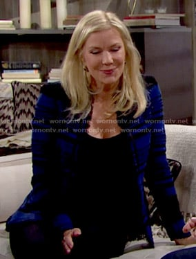 Brooke's blue striped tweed jacket on The Bold and the Beautiful