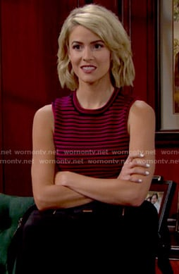 Caroline's red striped crop top on The Bold and the Beautiful