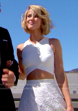 Caroline's white lace maxi skirt and crop top on The Bold and the Beautiful