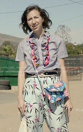 Carol's blue ruffled shirt, floral culottes and pink bow flats on Last Man on Earth