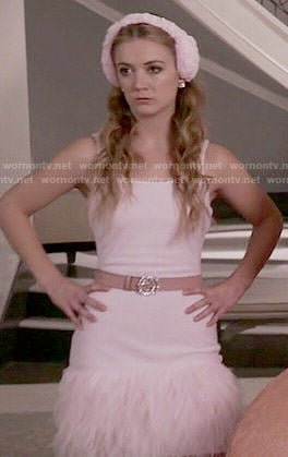 Chanel 3's pink feather trim dress on Scream Queens