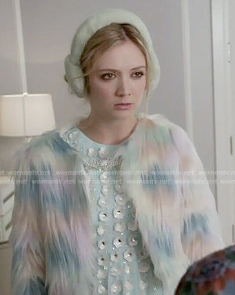 Chanel 3's rainbow fur jacket on Scream Queens