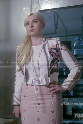 Chanel 5's embroidered jacket and pearl bunny ears headband on Scream Queens