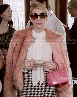 Chanel's pink fur jacket, asymmetric houndstooth skirt and white blouse on Scream Queens
