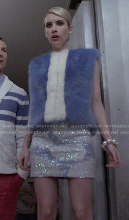 Chanel's blue fur vest and sequinned skirt on Scream Queens