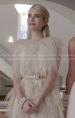Chanel's cream feather dress and pink bow belt on Scream Queens