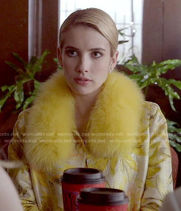 Chanel's yellow floral coat with fur collar on Scream Queens