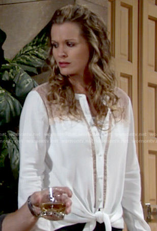 Chelsea's white lace panel tie-front blouse on The Young and the Restless