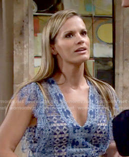 Chelsea's blue lace v-neck top on The Young and the Restless