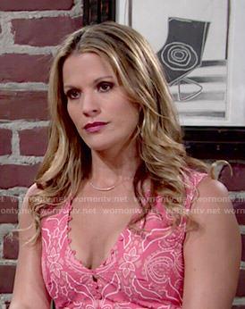 Chelsea's coral printed button front top on The Young and the Restless