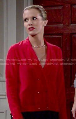 Chelsea's red double breasted blouse on The Young and the Restless