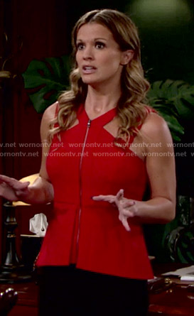 Chelsea's red zip front peplum top on The Young and the Restless