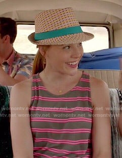 Daphne's pink striped tank top and denim shorts on Switched at Birth
