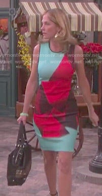 Eve's aqua and red abstract print dress on Days of our Lives
