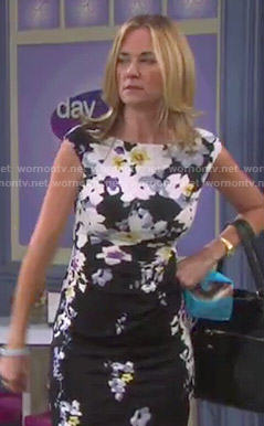 Eve's black floral dress on Days of our Lives