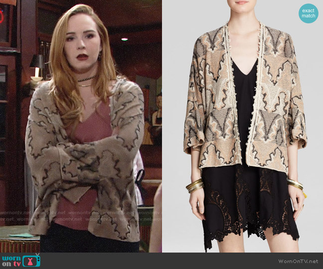 Free People Butterfly Kimono Cardigan worn by Mariah Copeland (Camryn Grimes) on The Young & the Restless