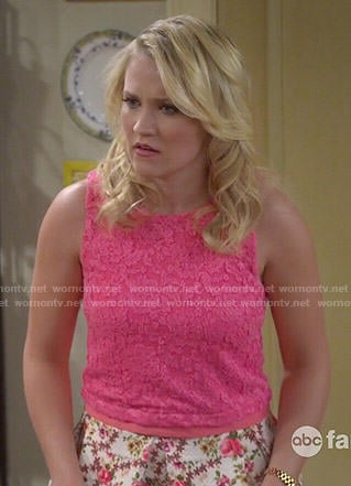 Gabi's pink lace top and floral skirt on Young and Hungry