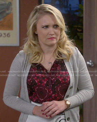 Gabi's red printed top on Young and Hungry