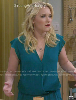 Gabi's teal ruffle trim romper on Young and Hungry