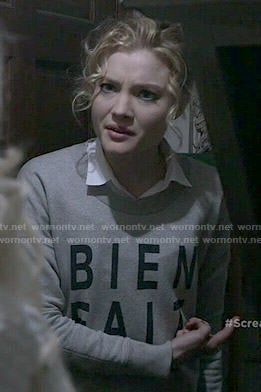 Grace's 'Bien Fait' Sweatshirt on Scream Queens