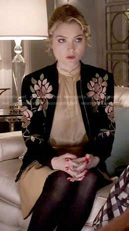 Grace's floral embroidered bomber jacket on Scream Queens