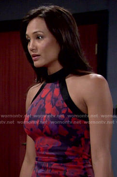 Gwen's red and purple floral dress on The Young and the Restless