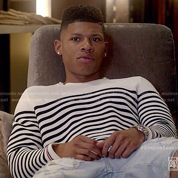 Hakeem's striped sweater on Empire