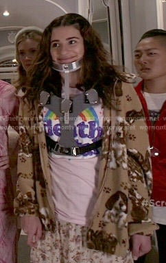 Hester's Death Metal rainbow tee on Scream Queens