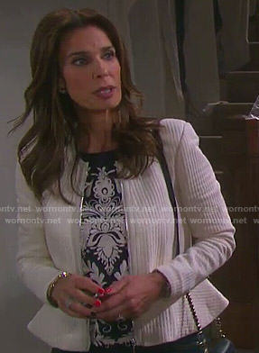 Hope's navy blue embroidered top and white peplum jacket on Days of our Lives