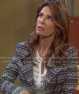 Hope's navy and white patterned jacket on Days of our Lives