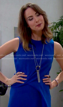 Ivy's blue draped dress on The Bold and the Beautiful